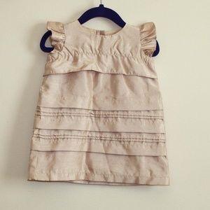 babyGap Metallic Beige Gold Tiered Ruffle Dress 6M